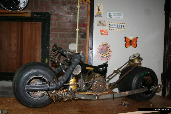 WIP batman style bike - made of junk and scrap materials